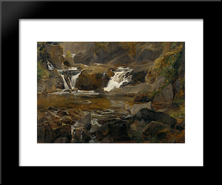 A Stream With Dam In Auvergne: Modern Black Framed Art Print by Theodore Rousseau