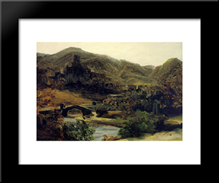 A View Of Thiers In The Auvergne: Modern Black Framed Art Print by Theodore Rousseau