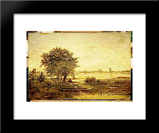 Banks Of Loire: Modern Black Framed Art Print by Theodore Rousseau