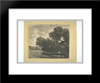 Boat On A River Lined With Trees: Custom Black Wood Framed Art Print by Theodore Rousseau