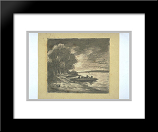 Boat Near A Shore Lined With Trees: Modern Black Framed Art Print by Theodore Rousseau