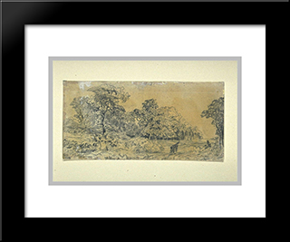 Carrier Bundles Of Wood On The Edge: Custom Black Wood Framed Art Print by Theodore Rousseau
