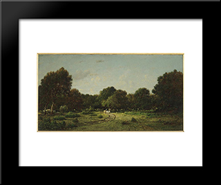 Clearing In The High Forest Of Fontainebleau Forest X, Said The Cart: Custom Black Wood Framed Art Print by Theodore Rousseau