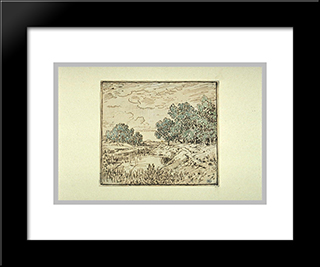 Clumps Of Trees Along A River: Custom Black Wood Framed Art Print by Theodore Rousseau