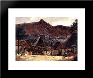 Cottages In The Jura: Modern Black Framed Art Print by Theodore Rousseau