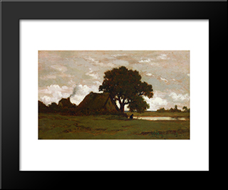Cottages Near Pond: Modern Black Framed Art Print by Theodore Rousseau