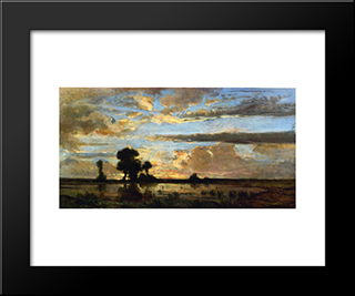 Edge Of The Forest, Sun Setting: Modern Black Framed Art Print by Theodore Rousseau