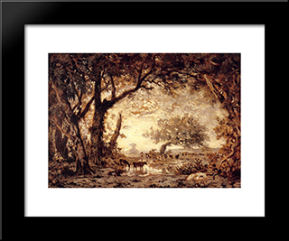Edge Of The Forest At Fontainebleau, Setting Sun: Modern Black Framed Art Print by Theodore Rousseau