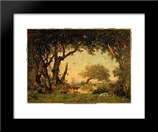 Exit Drill Fontainebleau, Sunset: Modern Black Framed Art Print by Theodore Rousseau