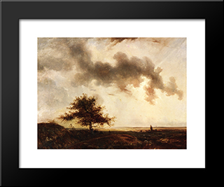 Figures In A Landscape: Modern Black Framed Art Print by Theodore Rousseau