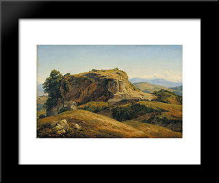 Hilly Landscape, Auvergne: Modern Black Framed Art Print by Theodore Rousseau