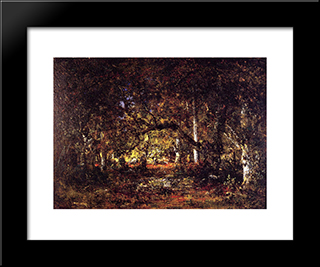 Inside The Forest: Modern Black Framed Art Print by Theodore Rousseau