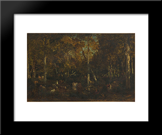 Inside The Forest Grove At Vieux Dormoir Du Bas-Breau (Fontainebleau Forest): Modern Black Framed Art Print by Theodore Rousseau