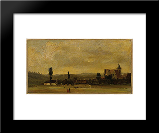 Landscape With A Church: Custom Black Wood Framed Art Print by Theodore Rousseau