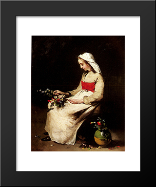 A Girl Arranging A Vase Of Flowers: Modern Black Framed Art Print by Theodule Ribot