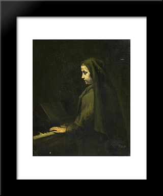 A Woman At The Piano: Modern Black Framed Art Print by Theodule Ribot