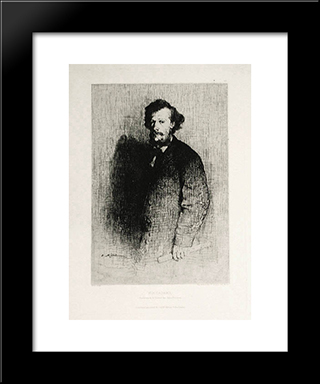 Alfred Cadart, Founder Of The Societe Des Aqua-Fortistes: Modern Black Framed Art Print by Theodule Ribot