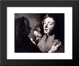 Conversation Piece Three Heads: Modern Black Framed Art Print by Theodule Ribot