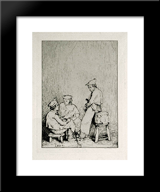 Culinary Scene #8 The Menu: Modern Black Framed Art Print by Theodule Ribot