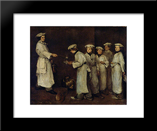 Kitchen Scene: Modern Black Framed Art Print by Theodule Ribot