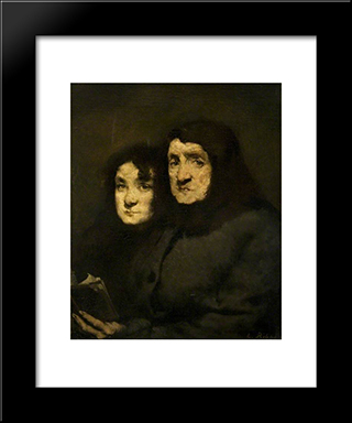 Mother And Daughter: Modern Black Framed Art Print by Theodule Ribot