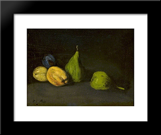Still Life With Fruit, Figs And Apricots: Modern Black Framed Art Print by Theodule Ribot