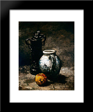Still Life With Jug 1885: Modern Black Framed Art Print by Theodule Ribot