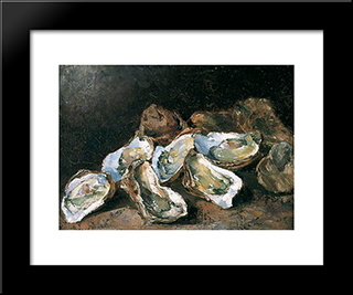 Still Life With Oysters: Modern Black Framed Art Print by Theodule Ribot