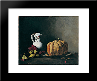 Still Life With Pumpkin, Plums, Cherries, Figs And Jug: Modern Black Framed Art Print by Theodule Ribot