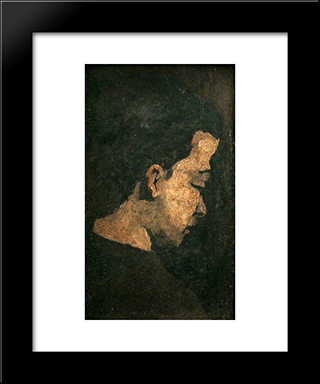 Study Of The Head Of A Youth: Modern Black Framed Art Print by Theodule Ribot
