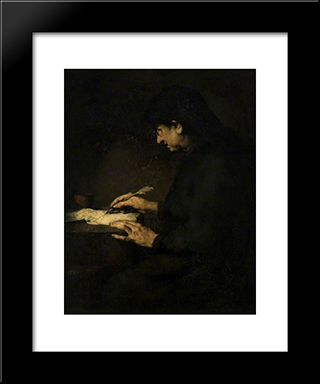The Accountant: Modern Black Framed Art Print by Theodule Ribot