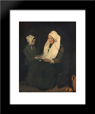 The Admonition: Modern Black Framed Art Print by Theodule Ribot