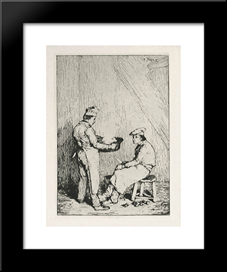 The Burnt Meal: Modern Black Framed Art Print by Theodule Ribot