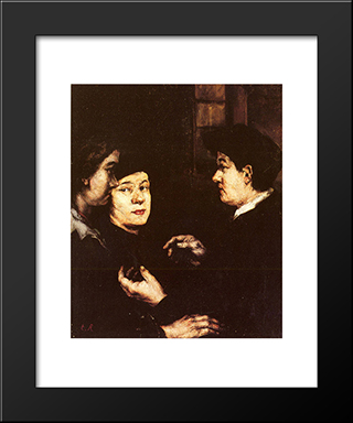 The Conversation: Modern Black Framed Art Print by Theodule Ribot