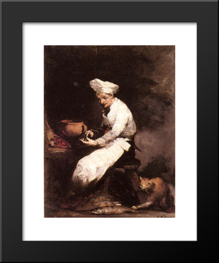 The Cook And The Cat: Modern Black Framed Art Print by Theodule Ribot