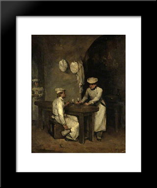 The Cooks: Modern Black Framed Art Print by Theodule Ribot