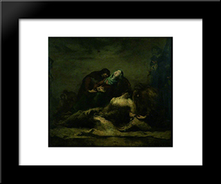 The Deposition From The Cross: Modern Black Framed Art Print by Theodule Ribot