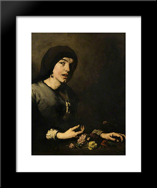 The Flower Girl: Modern Black Framed Art Print by Theodule Ribot