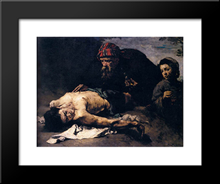 The Good Samaritan: Modern Black Framed Art Print by Theodule Ribot