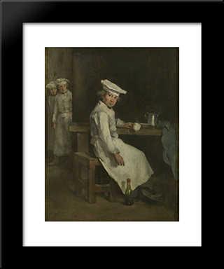 The Little Cooks: Modern Black Framed Art Print by Theodule Ribot