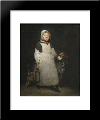 The Little Milkmaid: Modern Black Framed Art Print by Theodule Ribot