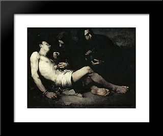 The Martyrdom Of St Sebastian: Modern Black Framed Art Print by Theodule Ribot