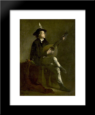 The Musician: Modern Black Framed Art Print by Theodule Ribot