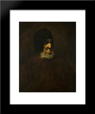The Old Fisherman: Modern Black Framed Art Print by Theodule Ribot