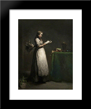The Studious Servant: Modern Black Framed Art Print by Theodule Ribot