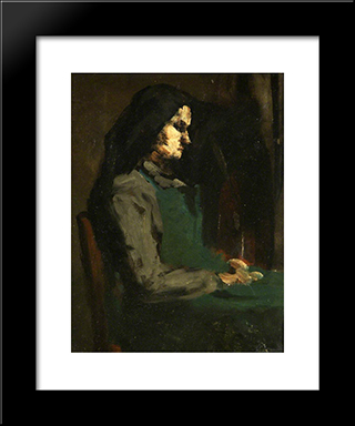 Woman With A Green Apron: Modern Black Framed Art Print by Theodule Ribot
