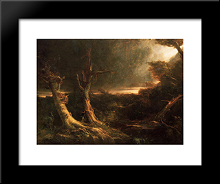 A Tornado In The Wilderness: Modern Black Framed Art Print by Thomas Cole