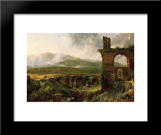 A View Near Tivoli (Morning): Modern Black Framed Art Print by Thomas Cole