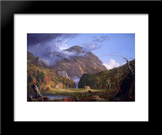 A View Of The Mountain Pass Called The Notch Of The White Mountains (Crawford Notch): Modern Black Framed Art Print by Thomas Cole