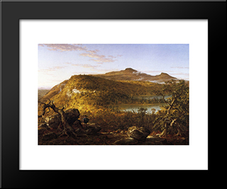 A View Of The Two Lakes And Mountain House, Catskill Mountains, Morning: Modern Black Framed Art Print by Thomas Cole